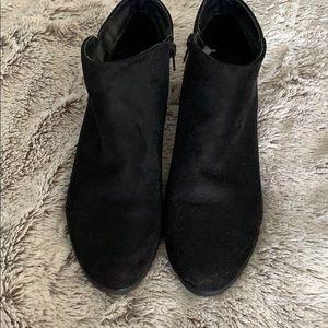 Black Faux suede low booties